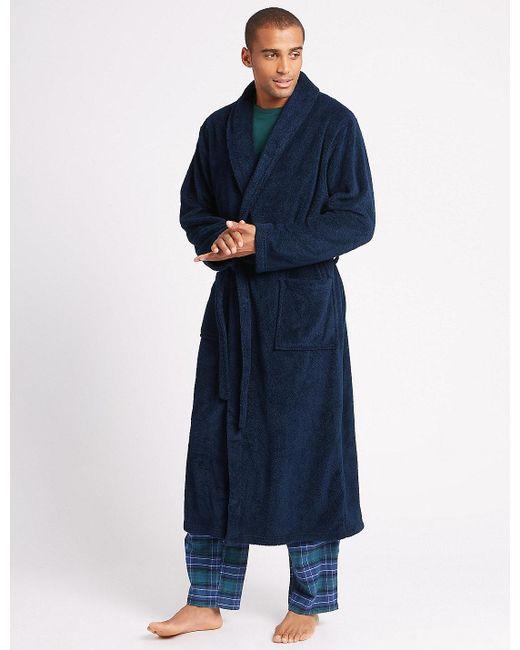 Lyst - Marks & Spencer 2in Longer Supersoft Fleece Dressing Gown in ...