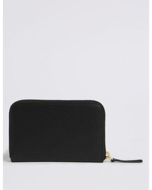 479b86437d44 ... Lyst Marks   Spencer - Black Leather Zip Around Purse ...