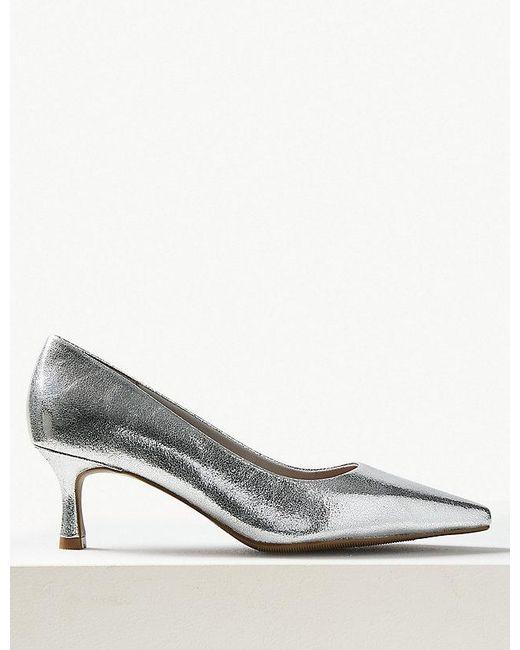 4a7e397e239f Marks & Spencer Wide Fit Kitten Heel Court Shoes in Metallic - Lyst