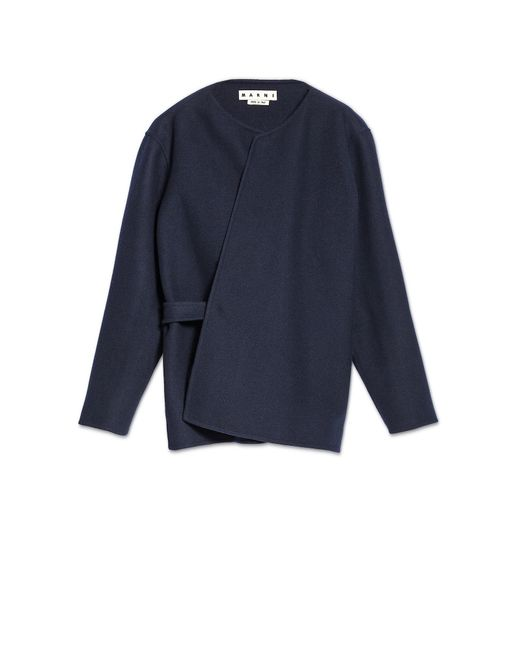 Marni Wool Jacket With Half-belt In Blue For Men | Lyst