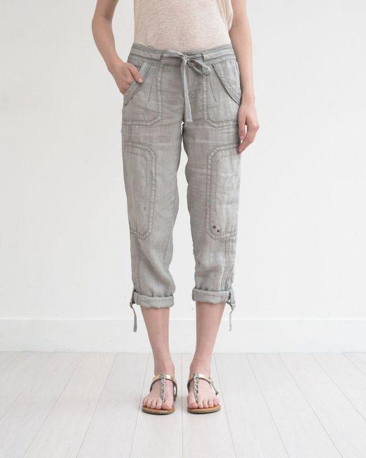 Marrakech - Gray Ali Roll-up Linen Utility Pant - Lyst