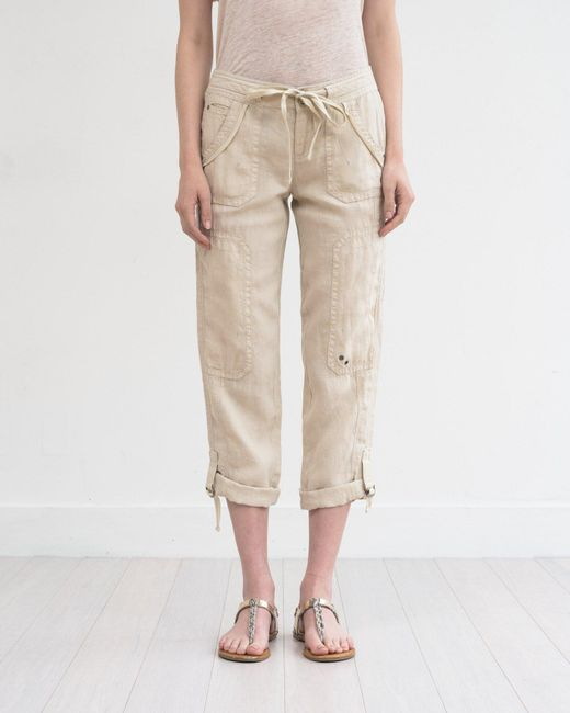 Marrakech | Natural Ali Roll-up Linen Utility Pant | Lyst