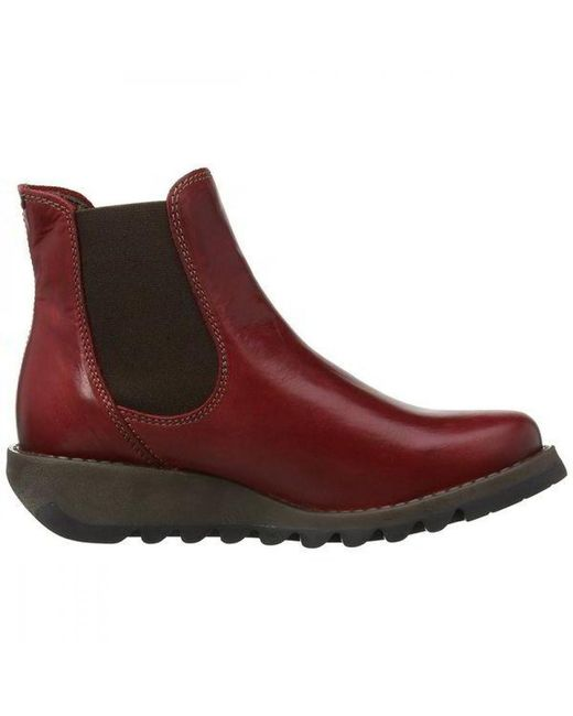 Fly London - Red Salv Leather Wedge Chelsea Ankle Boots - Lyst