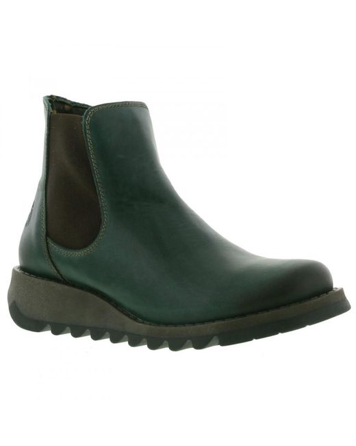 Fly London - Green Salv Leather Wedge Chelsea Ankle Boots - Lyst