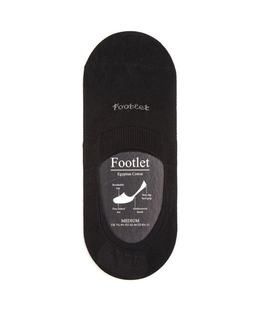 Pantherella - Black Footlet Cotton Blend Shoe Liners for Men - Lyst
