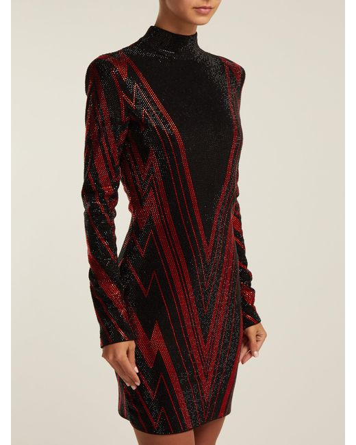 50a83ab1 ... Balmain - Black Chevron Stripe Crystal Embellished Mini Dress - Lyst