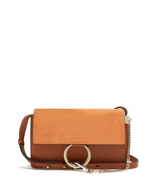 Chloé - Brown Faye Small Suede And Leather Cross-body Bag - Lyst