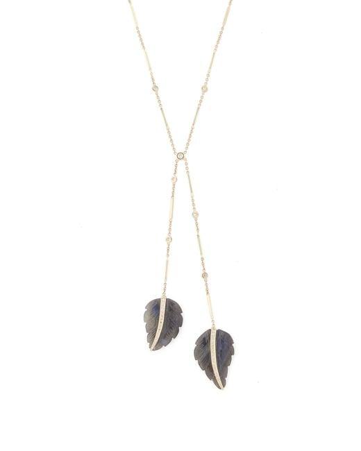 Jacquie Aiche - Metallic Labradorite & Diamond Gold Bolo Necklace - Lyst