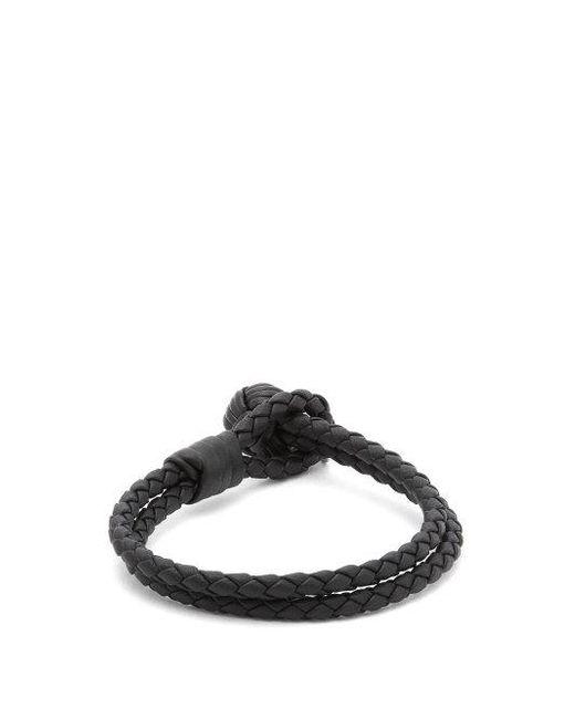 Bottega Veneta - Blue Double-wrap Leather Bracelet for Men - Lyst