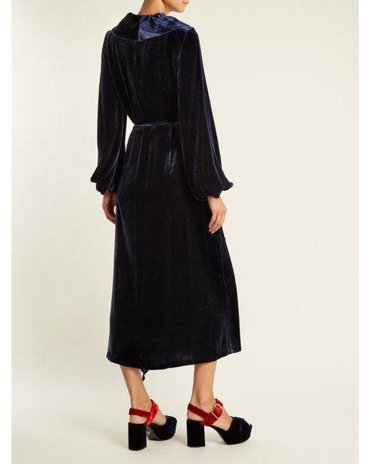 Wilt ruffle-trimmed velvet wrap dress Racil Hot Sale Online Top Quality YWxmpK