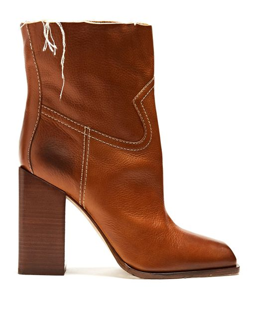 Saint Laurent - Brown Jodie Square-toe Leather Ankle Boots - Lyst