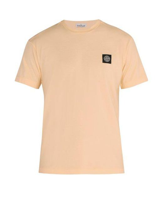 Stone Island - Pink Logo-patch Cotton T-shirt for Men - Lyst