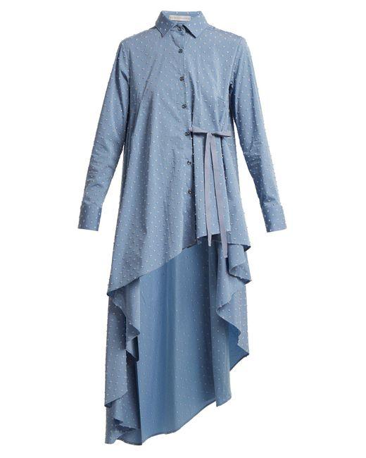 Palmer//Harding - Blue Tie-waist Dobby-dot Chambray Shirt - Lyst