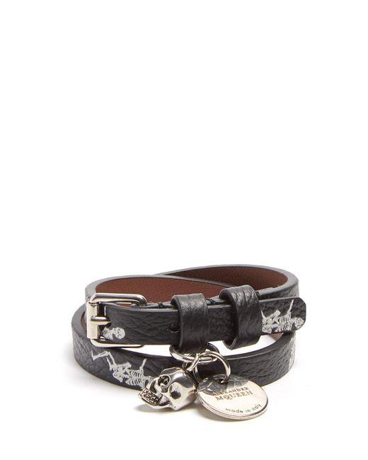Alexander McQueen | Black Skeleton-print Double-wrap Leather Bracelet for Men | Lyst