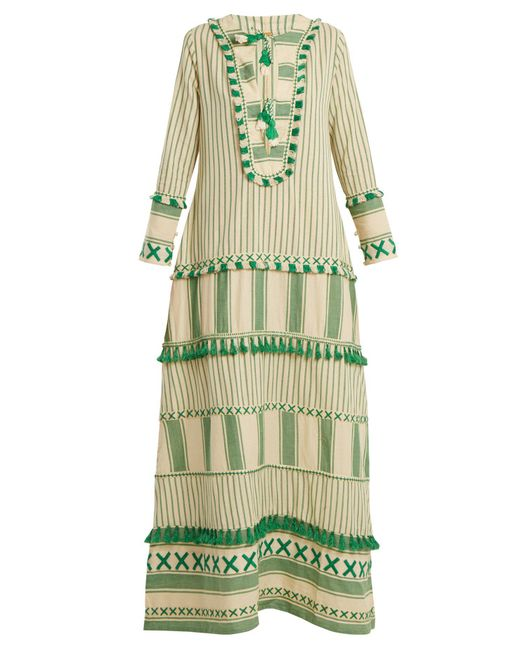 Dodo Bar Or - Green Samuelle Striped Cotton Maxi Dress - Lyst