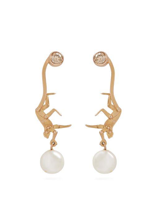 Marc Alary | Metallic Diamond, Pearl & Pink-gold Earrings | Lyst