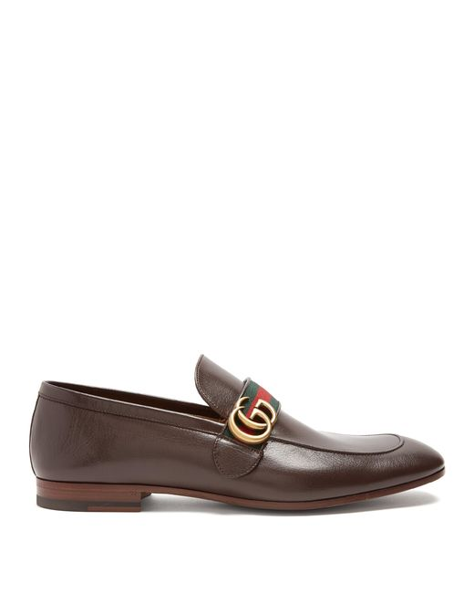 Gucci - Brown Donnie Gg Leather Loafers for Men - Lyst