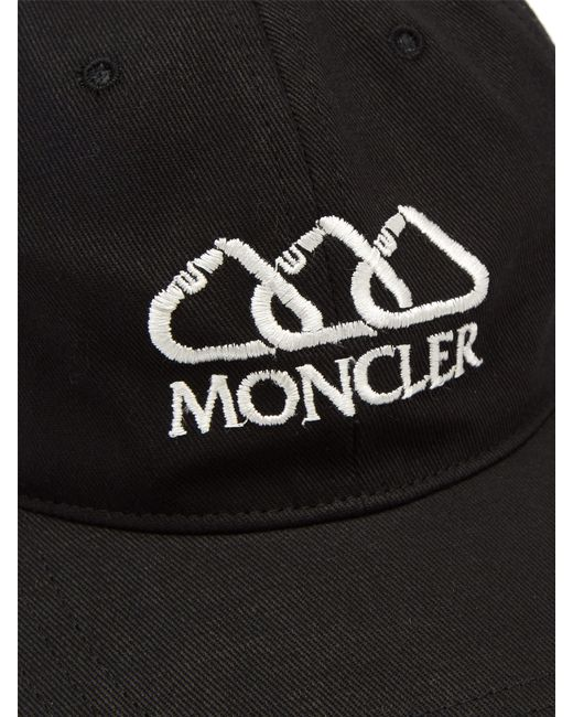 7a1ddad4bf37b4 Moncler Logo Embroidered Cotton Cap in Black for Men - Save 3% - Lyst