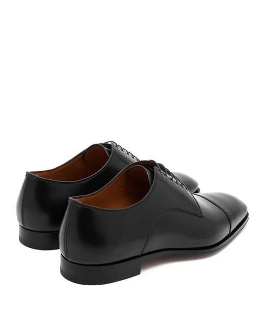 33028cfadf9 ... Christian Louboutin - Black Cousin Leather Derby Shoes for Men - Lyst  ...