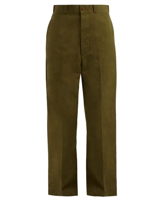 Chimala - Green High Waisted Wide Leg Cotton Trousers - Lyst