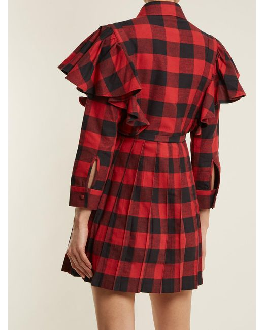 Point-collar checked cotton-flannel dress VETEMENTS J4JTEo