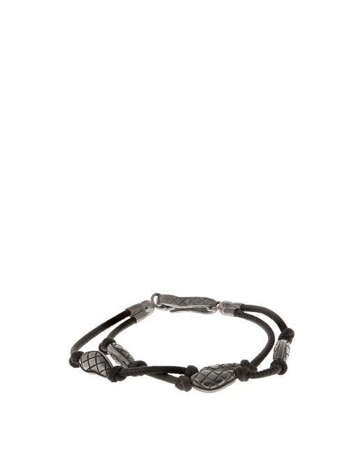 Bottega Veneta   Black Oxidised-silver Embellished Leather Bracelet for Men   Lyst