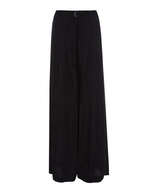 Raquel Allegra   Black Striped Wide-leg Crepe De Chine Trousers   Lyst