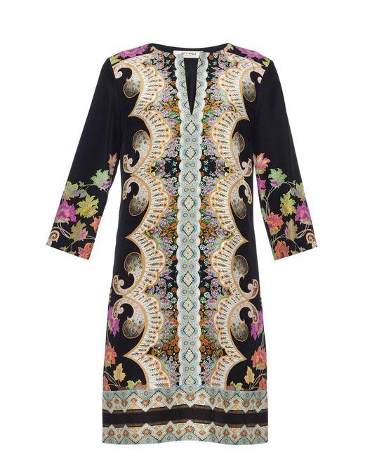 Etro | Black Paisley-print Silk Tunic Dress | Lyst