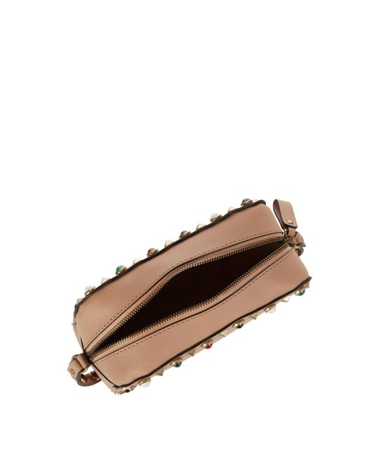 Valentino Rockstud Rolling Leather Camera Cross-body Bag in Beige ...