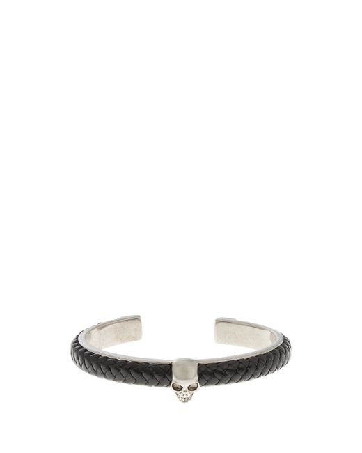 Alexander McQueen | Black Woven-leather And Metal Skull Bracelet for Men | Lyst