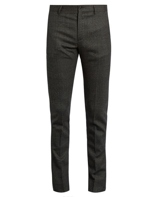 Dolce & Gabbana | Gray Prince Of Wales-checked Wool-blend Trosuers for Men | Lyst