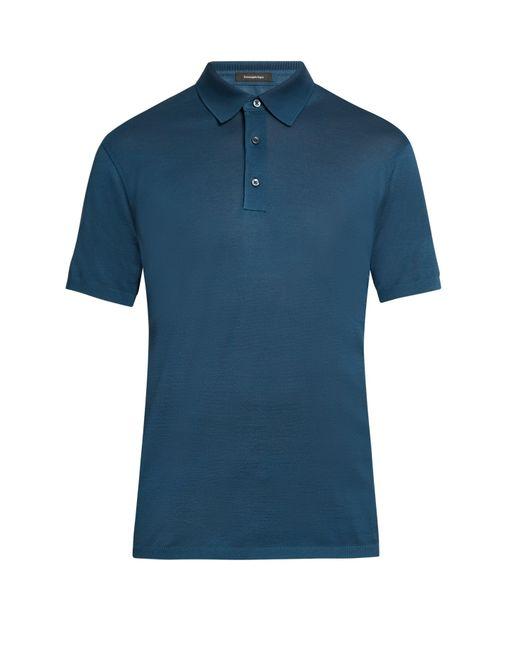 Ermenegildo zegna short sleeved cotton piqu polo shirt in for Zegna polo shirts sale