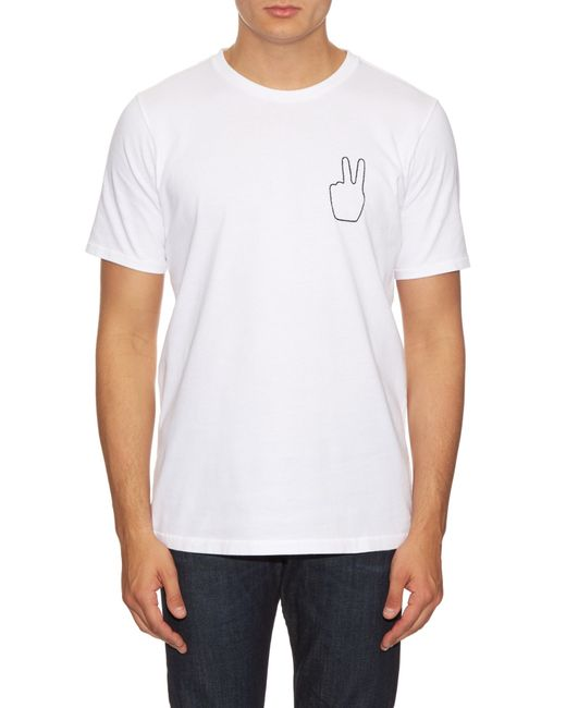 Rag bone peace embroidered cotton t shirt in white for for Rag and bone white t shirt