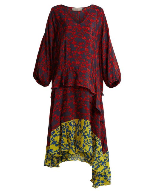 Preen Line - Red Felicity Floral Print Satin Crepe Dress - Lyst