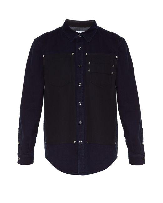 Givenchy | Blue Stud-embellished Bi-colour Denim Shirt for Men | Lyst