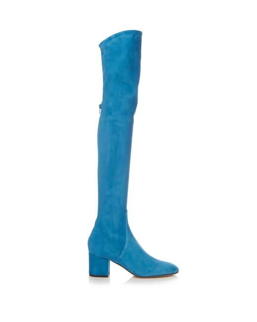 Valentino | Blue Over-the-knee Suede Boots | Lyst