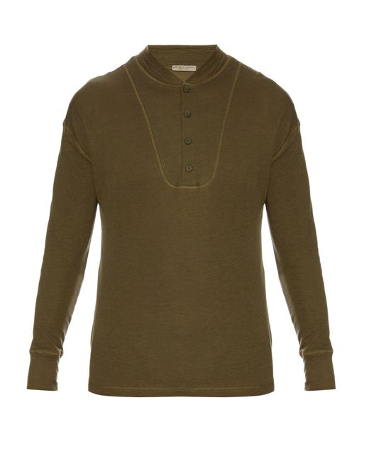 Bottega veneta long sleeved henley t shirt in blue for men for Bottega veneta t shirt