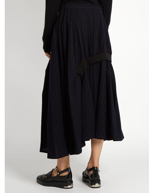 y s yohji yamamoto pinstriped gathered wool midi skirt in