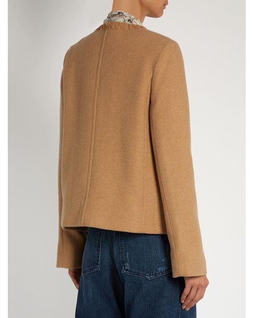 See by chloé Patch-pocket Wool-blend Coat in Multicolor