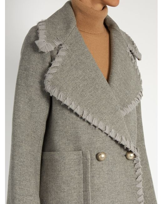 See by chloé Double-Breasted Wool-Blend Coat in Gray