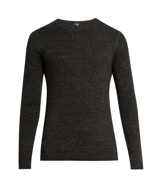VINCE | Black Crew-neck Cotton-blend Sweater for Men | Lyst