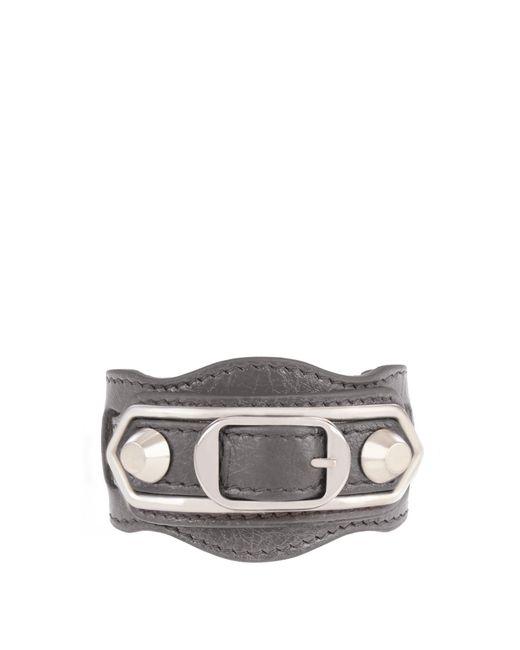 Balenciaga | Gray Classic Metallic Edge Leather Bracelet | Lyst
