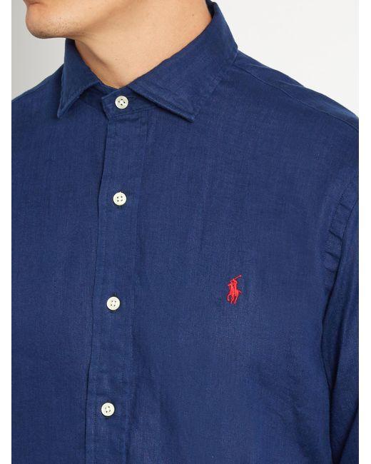 Polo Ralph Lauren Spread Collar Linen Shirt In Blue For