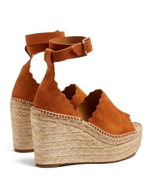 Chlo 233 Lauren Suede Espadrille Wedge Sandals In Brown Lyst