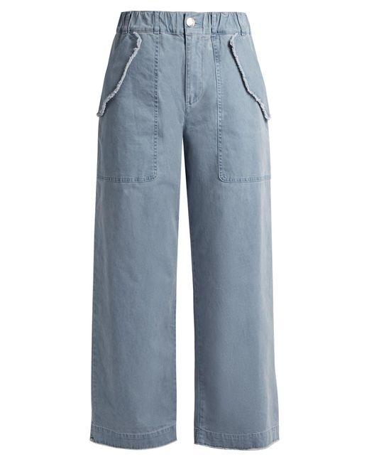 See By Chloé   Blue High-waisted Wide-leg Cotton-blend Trousers   Lyst