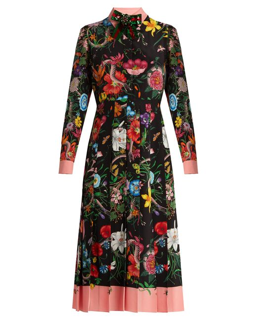 Gucci | Black Floral And Snake-print Silk Midi Dress | Lyst
