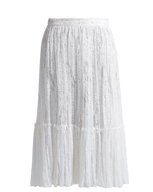 valentino floral embroidered tulle midi skirt in white lyst