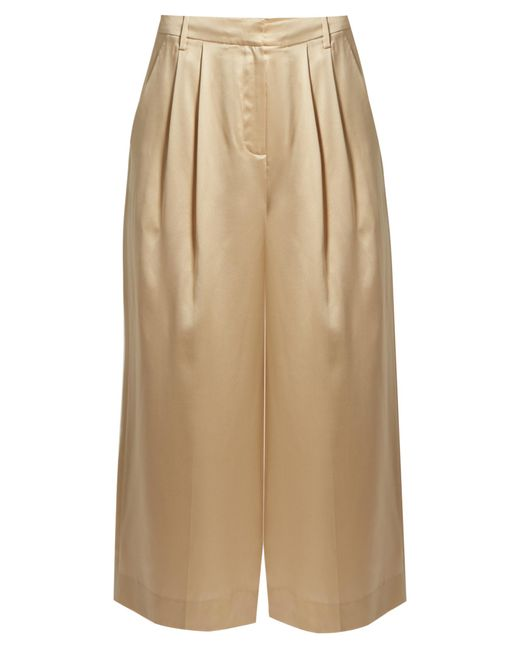 Tibi | Natural Mid-rise Wide-leg Cropped Silk-satin Trousers | Lyst
