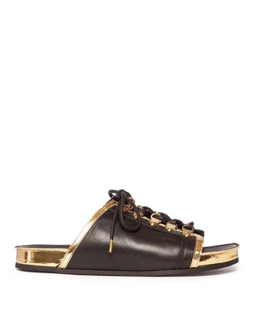 Balmain | Black Lace-up Leather Slides | Lyst