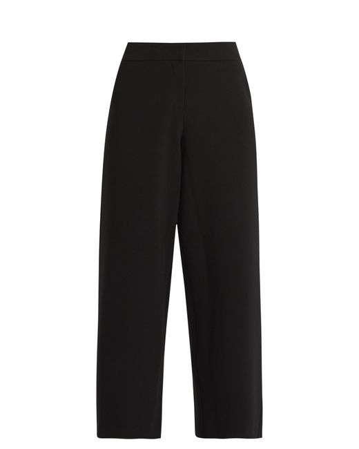 Saloni | Black Caroline Wide-leg Stretch-crepe Cropped Trousers | Lyst